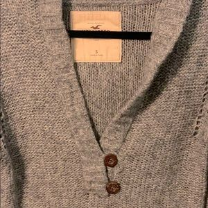 Hollister Grey Two Button V Neck Sweater